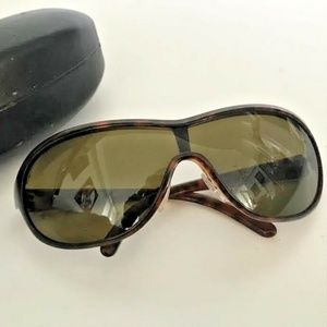 NEW PRADA Brown Wrap Butterfly Sunglasses